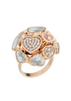 Кольцо Happy Hearts, розовое золото 750 пробы, натуральный белый перламутр и бриллианты