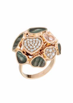 Кольцо Happy Hearts, розовое золото 750 пробы, натуральный черный таитянский перламутр и бриллианты