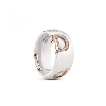 Кольцо из белой керамики с розовым золотом и бриллиантами D.icon