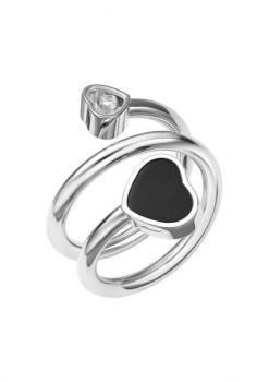 Кольцо-Сприраль Happy Hearts, белое золото 750 пробы, бриллиант и черный оникс