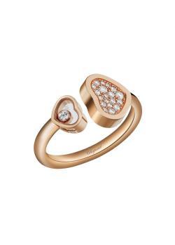 Кольцо Happy Hearts, розовое золото 750пробы и бриллианты