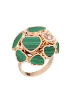 Кольцо Happy Hearts, розовое золото 750 пробы и натуральный малахит