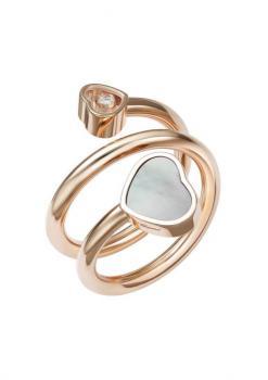 Кольцо-Сприраль Happy Hearts, розовое золото 750 пробы, бриллиант и перламутр