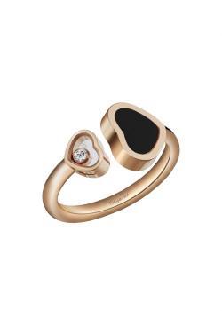 Кольцо Happy Hearts, розовое золото 750 пробы и натуральный черный оникс