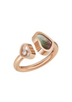 Кольцо Happy Hearts, розовое золото 750 пробы и натуральный перламутр и брилиант