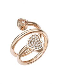 Кольцо-Сприраль Happy Hearts, розовое золото 750 пробы и бриллианты