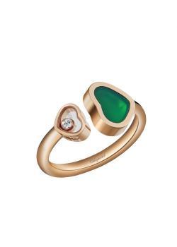 Кольцо Happy Hearts, розовое золото 750 пробы и натуральный зеленый агат