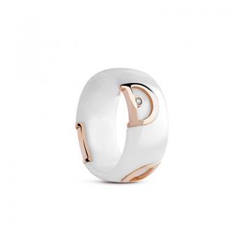 Кольцо из белой керамики с розовым золотом и бриллиантом D.icon