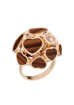 Кольцо Happy Hearts, розовое золото 750 пробы и натуральный тигровый глаз