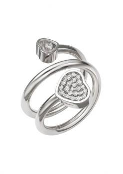 Кольцо-Сприраль Happy Hearts, белое золото 750 пробы и бриллианты