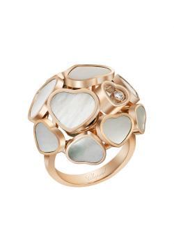 Кольцо Happy Hearts, розовое золото 750пробы и натуральный перламутр