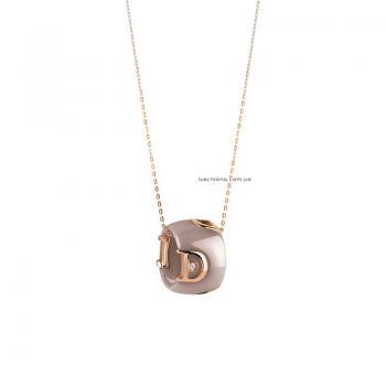 Ожерелье из бежевой керамики с розовым золотом и бриллиантом D.icon
