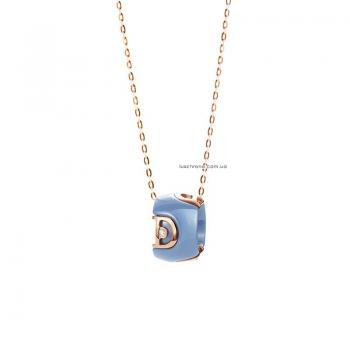 Ожерелье из бирюзовой керамики с розовым золотом и бриллиантом D.icon