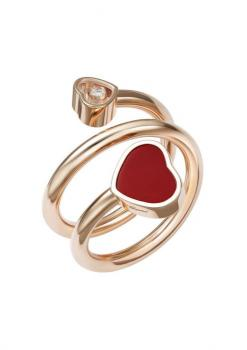 Кольцо-Сприраль Happy Hearts, розовое золото 750 пробы, бриллиант и красный камень