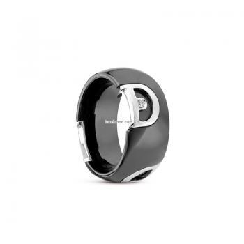 Кольцо из черной керамики с белым золотом и бриллиантом D.icon