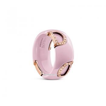 Кольцо из розовой керамики с розовым золотом и бриллиантами D.icon