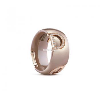 Кольцо из бежевой керамики с розовым золотом и бриллиантами D.icon